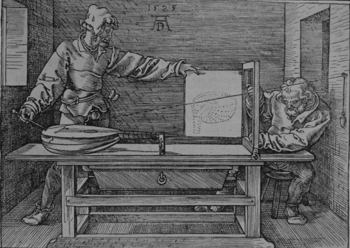 Dürer is drawing a lute